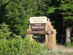 Page Mountain Snow Park Sign
